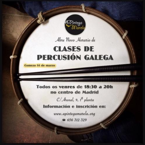 Cartel clases percu venres galego